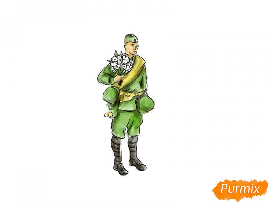 Рисуем солдата с цветами в полный рост к 9 мая - шаг 8