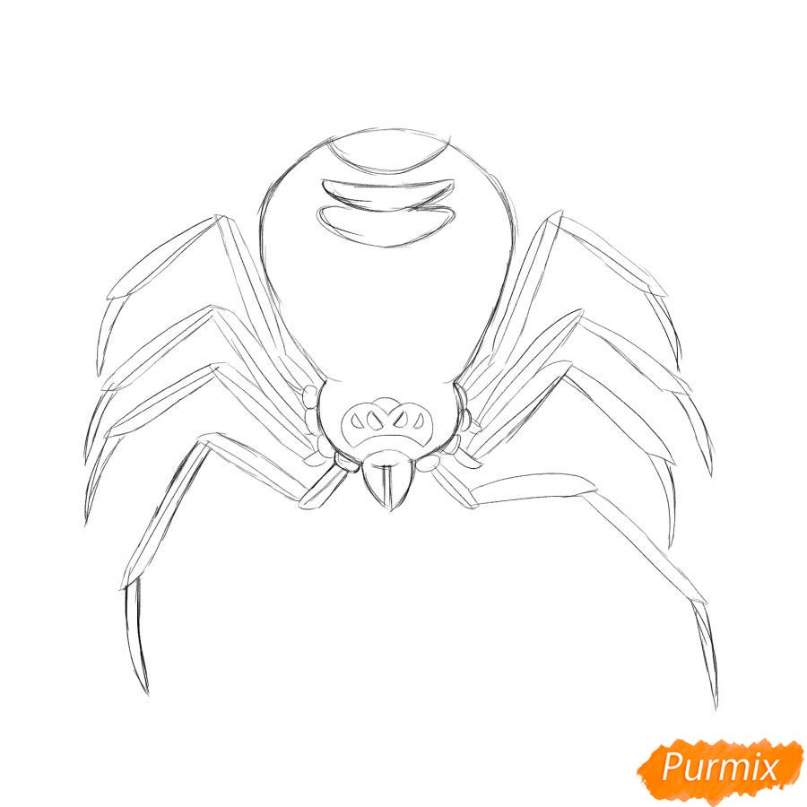 Рисуем страшного паука на Хэллоуин - шаг 4