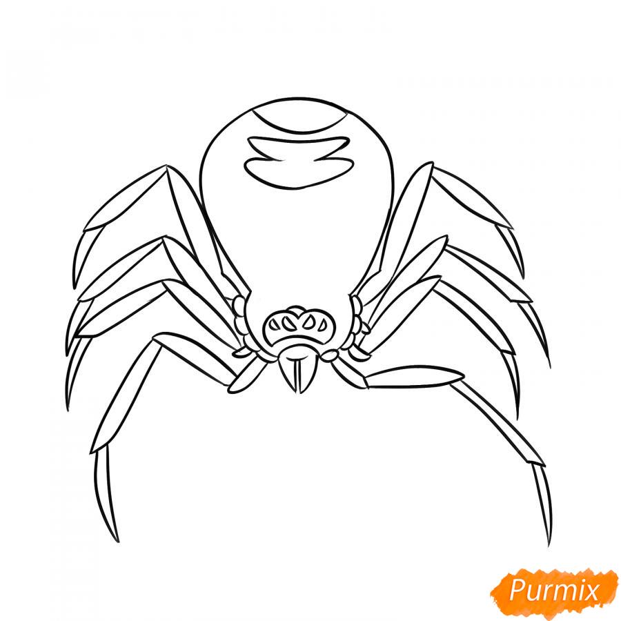 Рисуем страшного паука на Хэллоуин - шаг 5