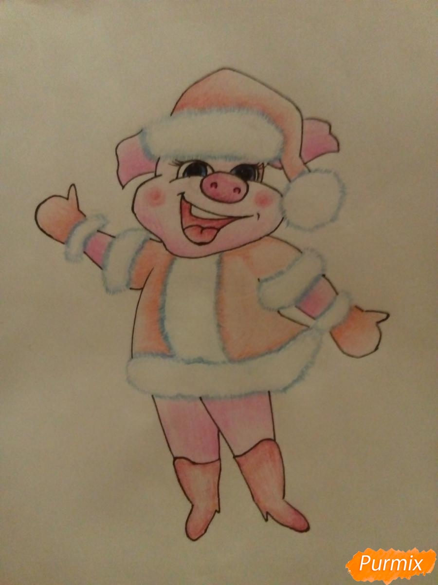 Рисуем свинку в новогоднем костюме в полный рост - шаг 10