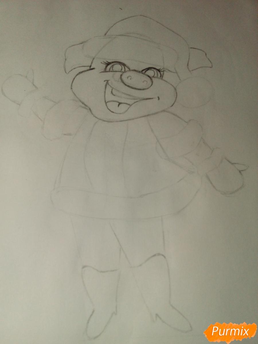 Рисуем свинку в новогоднем костюме в полный рост - шаг 5