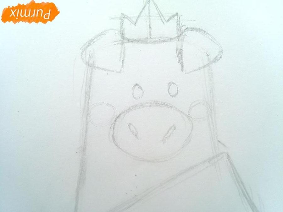 Рисуем свинку в юбке символ 2019 года - шаг 3