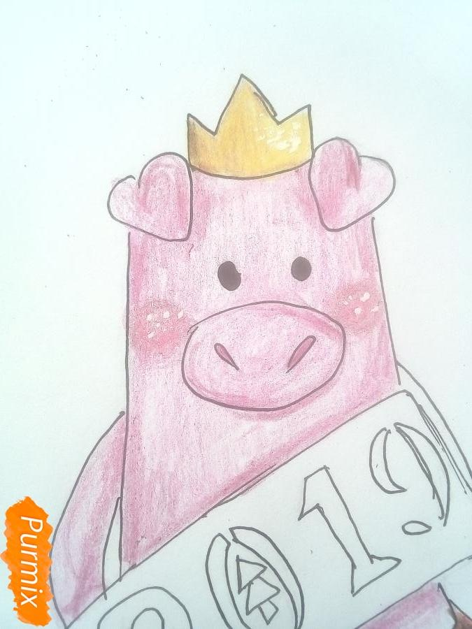 Рисуем свинку в юбке символ 2019 года - шаг 8