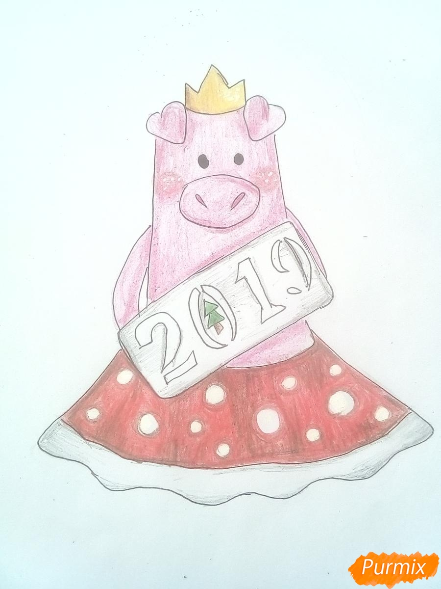 Рисуем свинку в юбке символ 2019 года - шаг 9