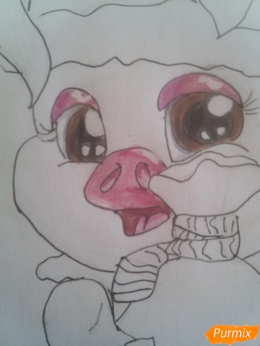 Рисуем свинью символ 2019 года карандашами - шаг 14