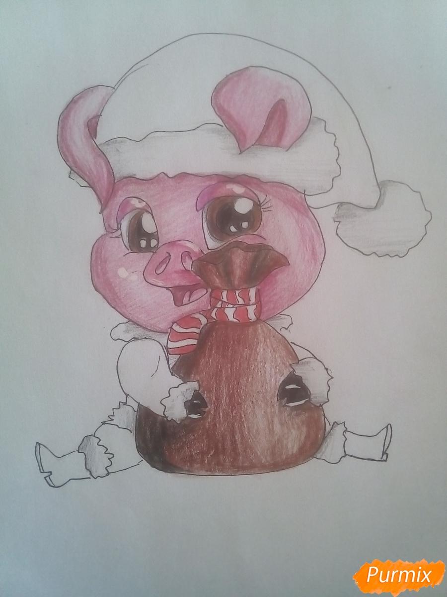 Рисуем свинью символ 2019 года карандашами - шаг 17