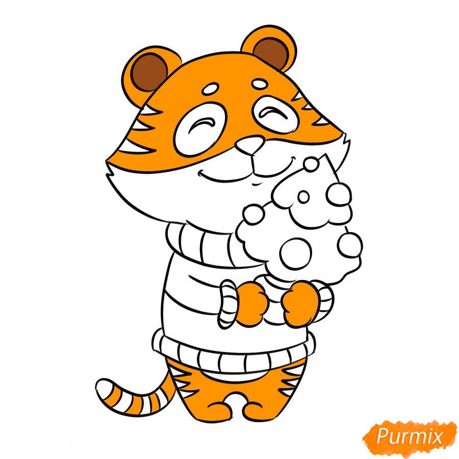 Рисуем тигра символ 2022 года карандашами - шаг 7