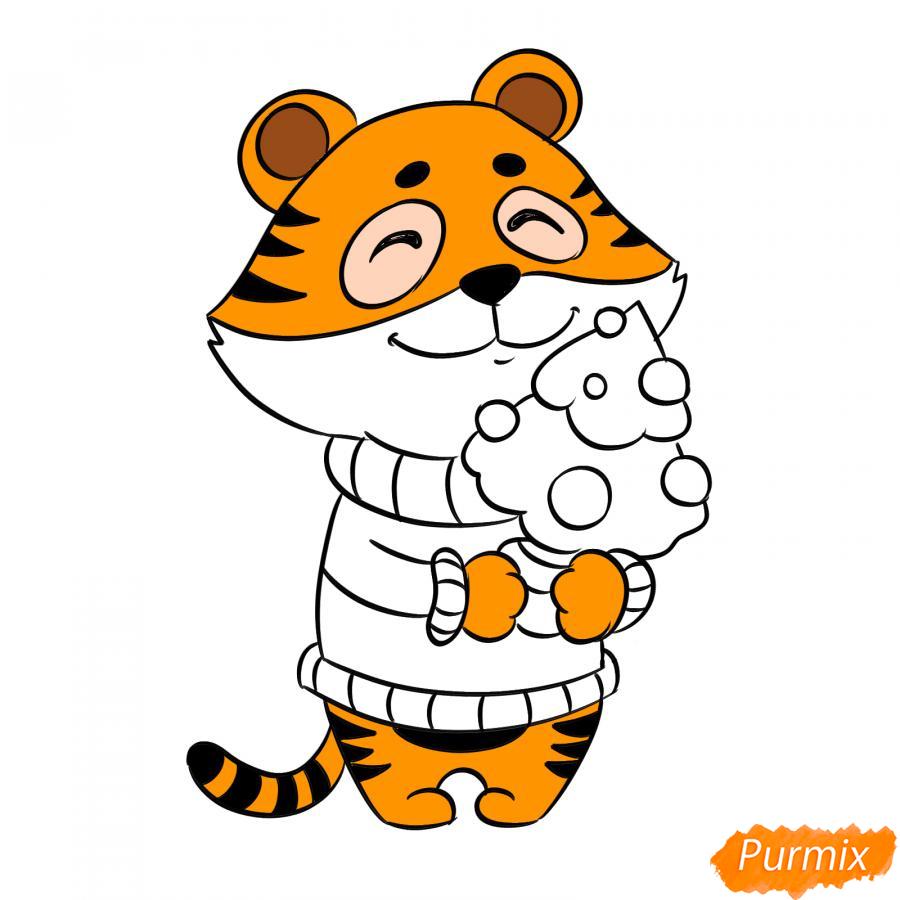 Рисуем тигра символ 2022 года карандашами - шаг 8