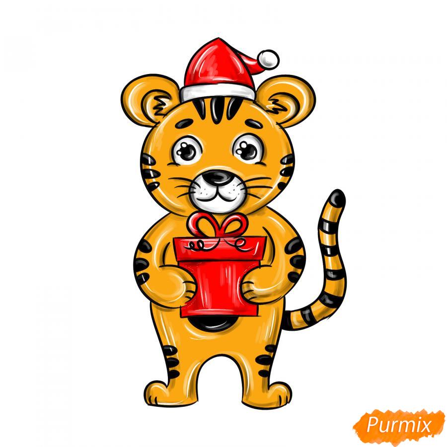Рисуем тигра с подарком на Новый год 2022 - шаг 10