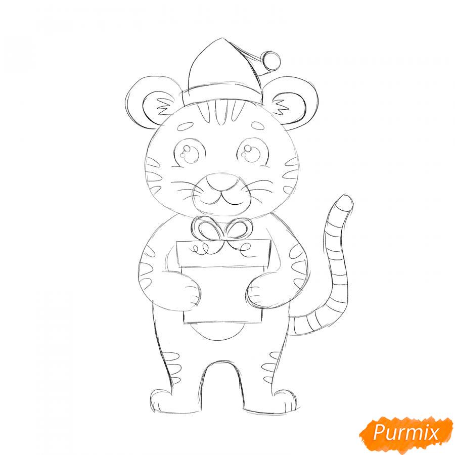 Рисуем тигра с подарком на Новый год 2022 - шаг 5