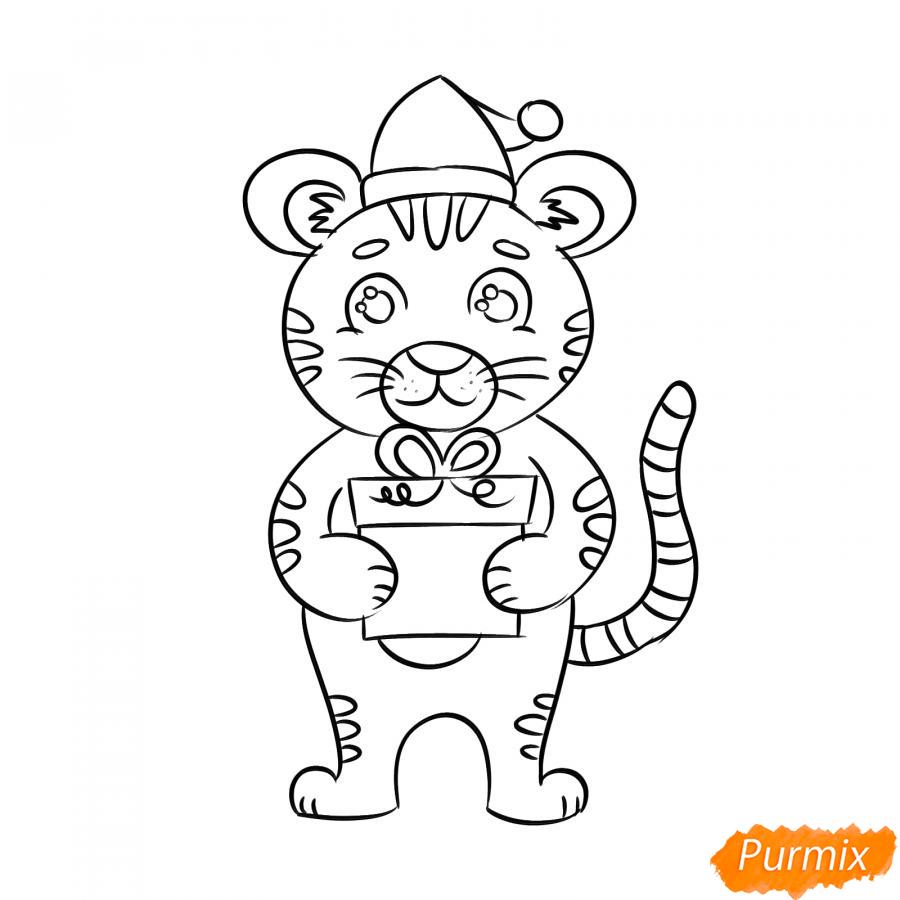 Рисуем тигра с подарком на Новый год 2022 - шаг 6