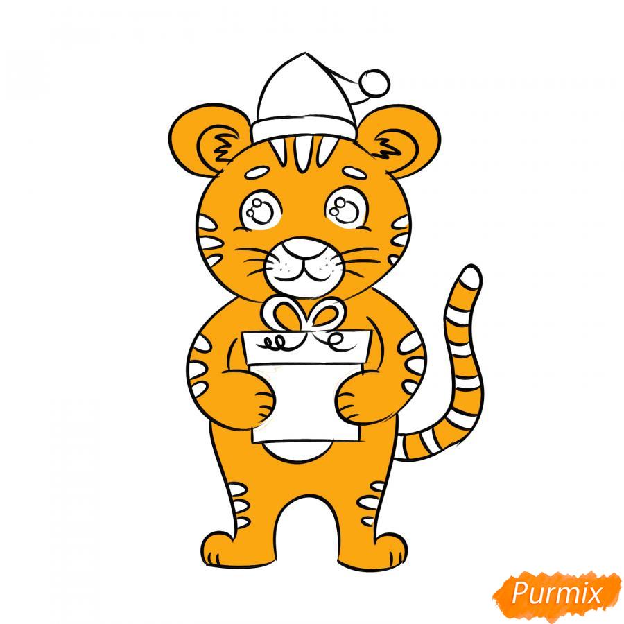 Рисуем тигра с подарком на Новый год 2022 - шаг 7