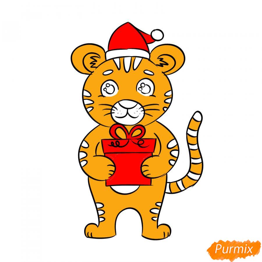 Рисуем тигра с подарком на Новый год 2022 - шаг 8