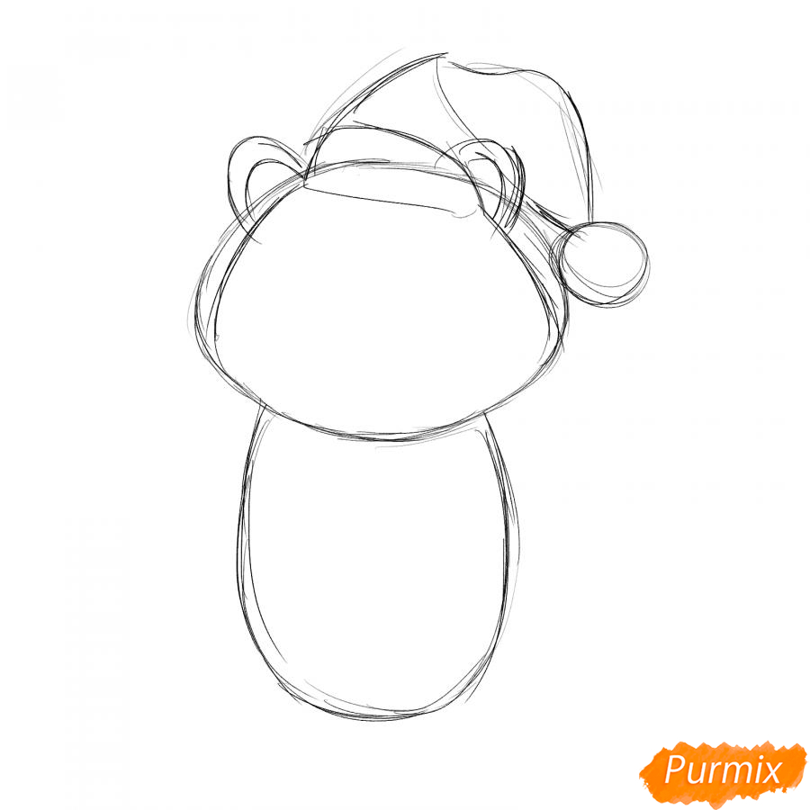 Рисуем тигра в костюме Деда Мороза - шаг 2