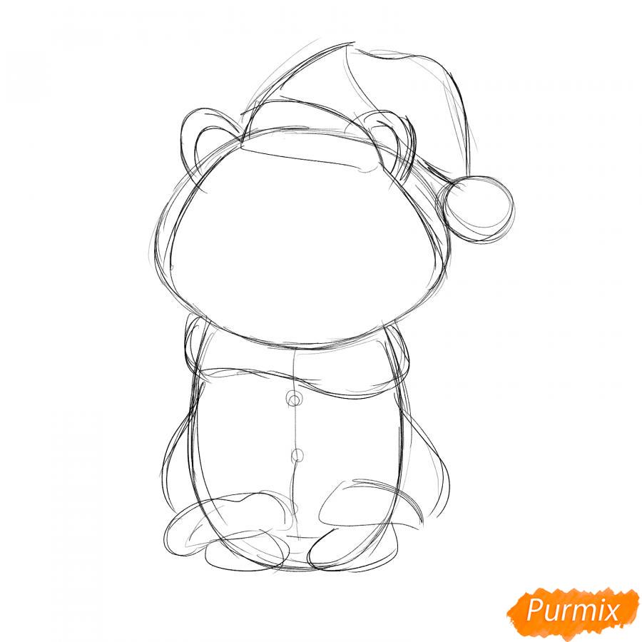 Рисуем тигра в костюме Деда Мороза - шаг 3