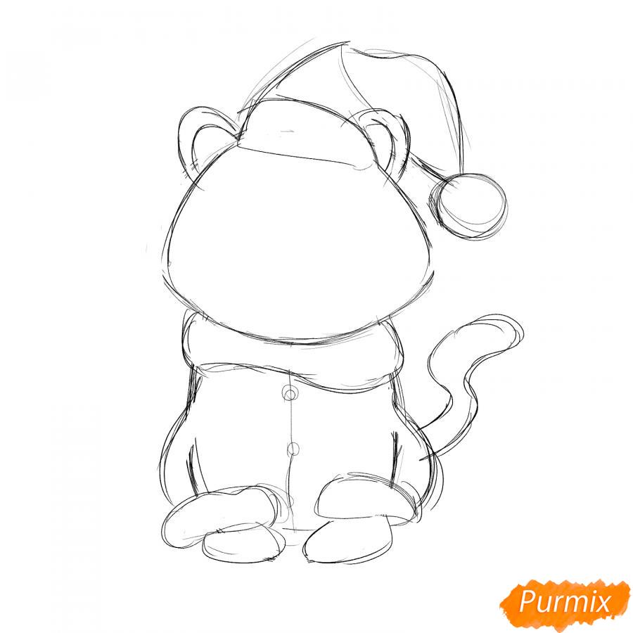 Рисуем тигра в костюме Деда Мороза - шаг 4