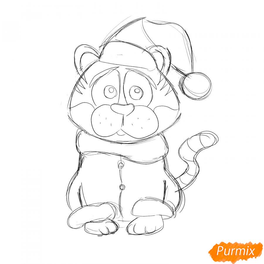 Рисуем тигра в костюме Деда Мороза - шаг 5