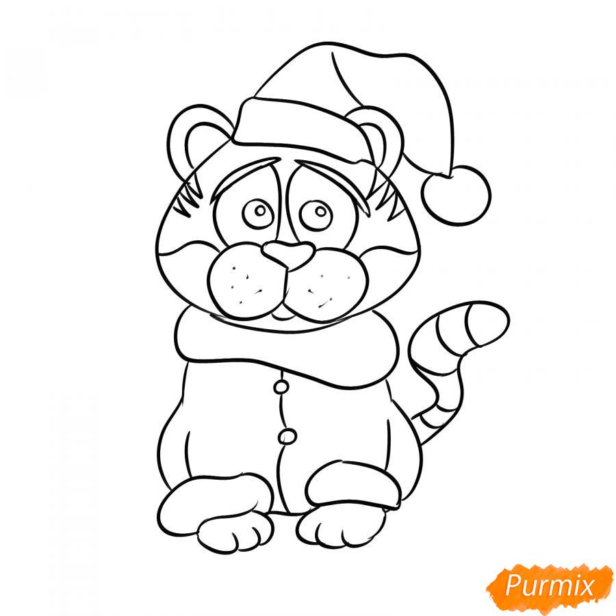 Рисуем тигра в костюме Деда Мороза - шаг 6