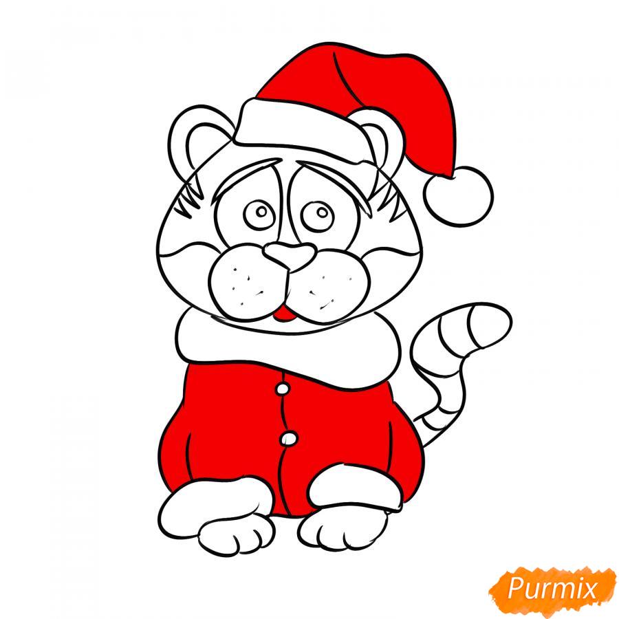 Рисуем тигра в костюме Деда Мороза - шаг 7