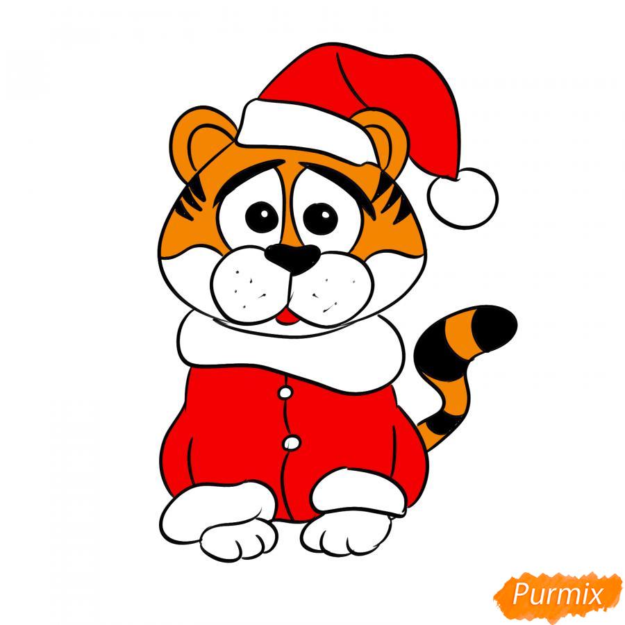 Рисуем тигра в костюме Деда Мороза - шаг 8