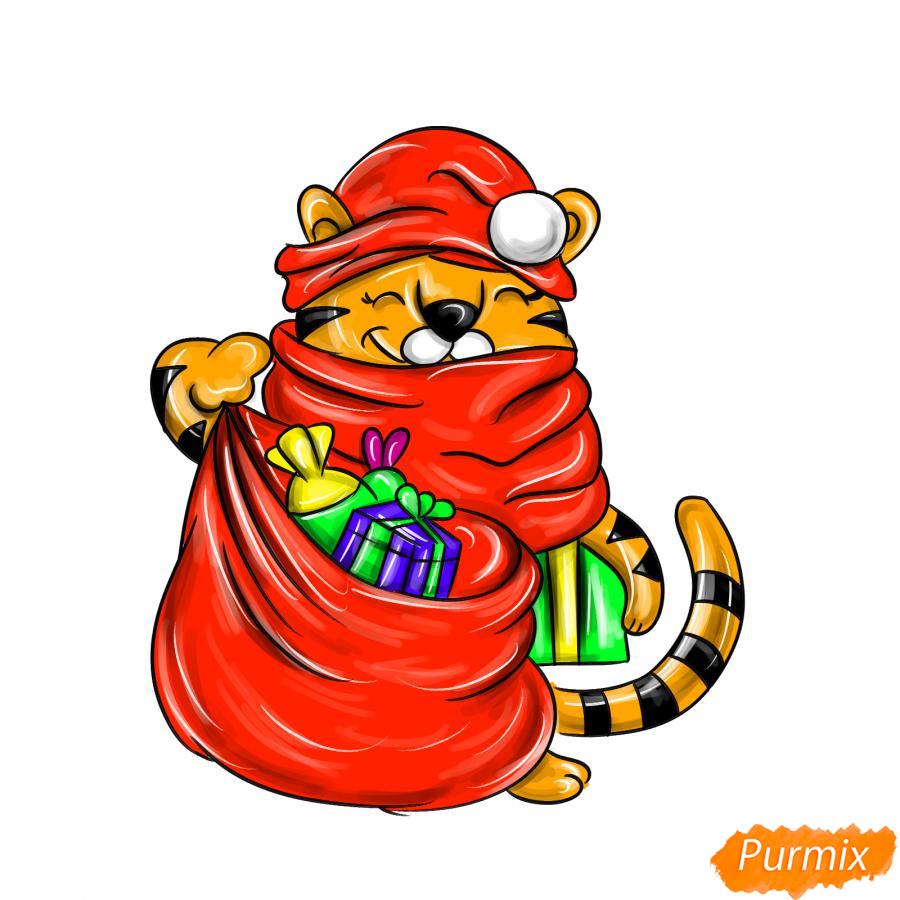 Рисуем тигрёнка с мешком подарков - шаг 10