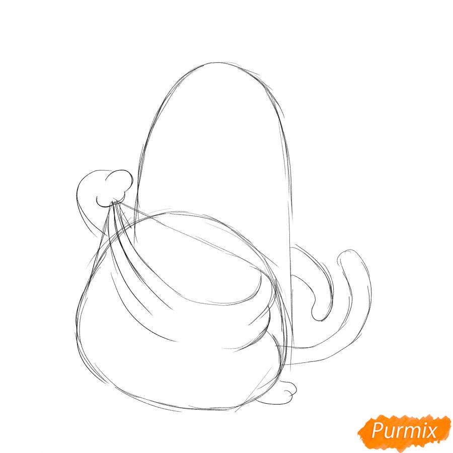Рисуем тигрёнка с мешком подарков - шаг 2