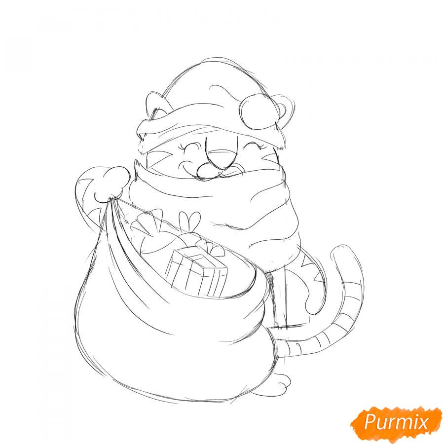 Рисуем тигрёнка с мешком подарков - шаг 5