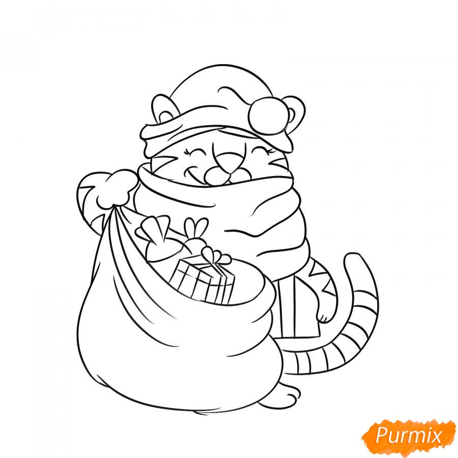 Рисуем тигрёнка с мешком подарков - шаг 6