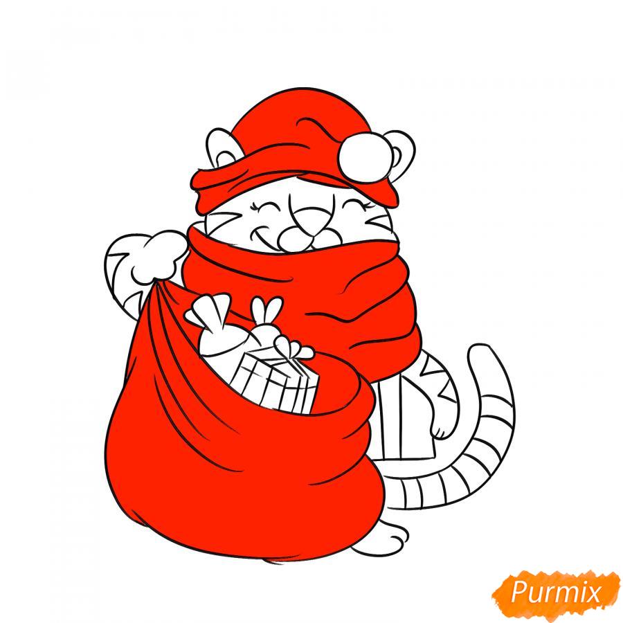 Рисуем тигрёнка с мешком подарков - шаг 7
