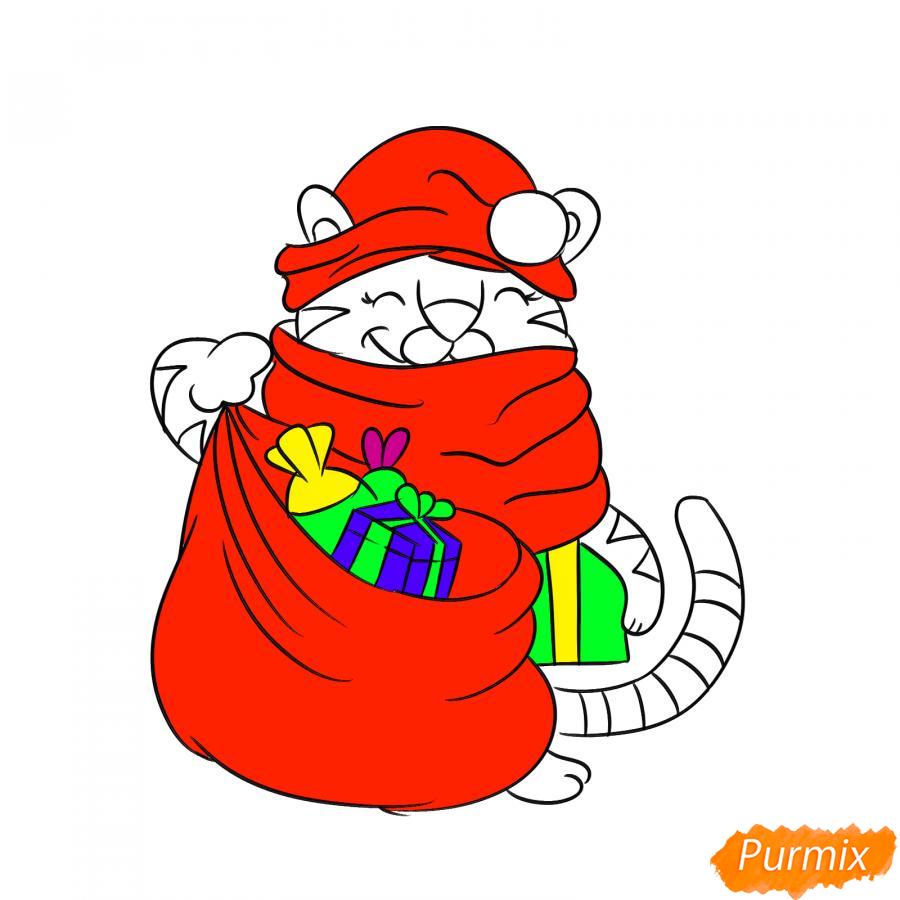 Рисуем тигрёнка с мешком подарков - шаг 8
