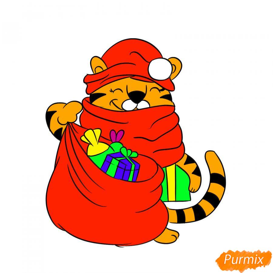 Рисуем тигрёнка с мешком подарков - шаг 9
