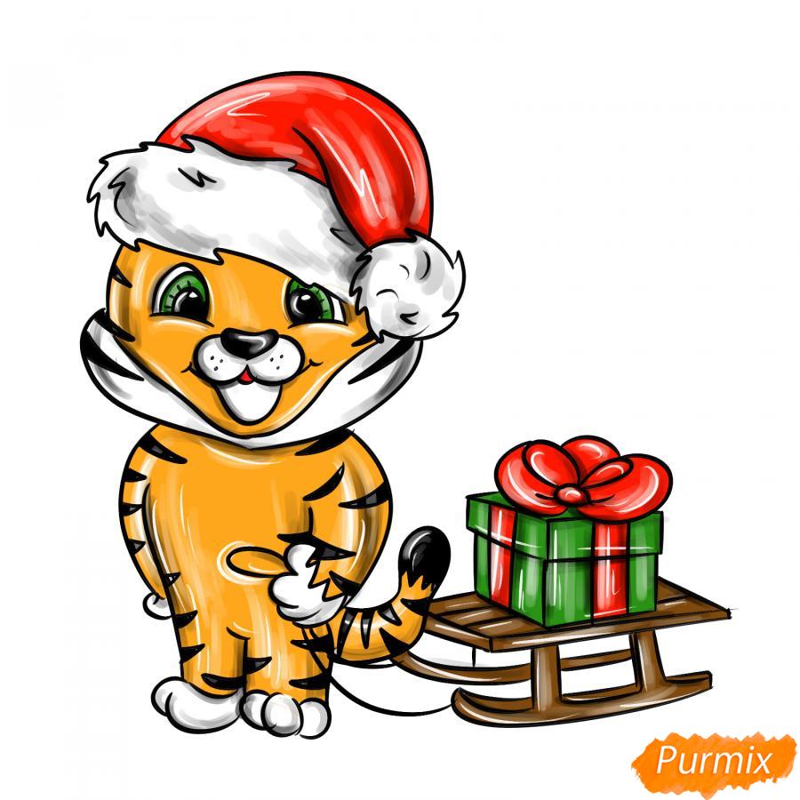 Рисуем тигрёнка с санками - шаг 10