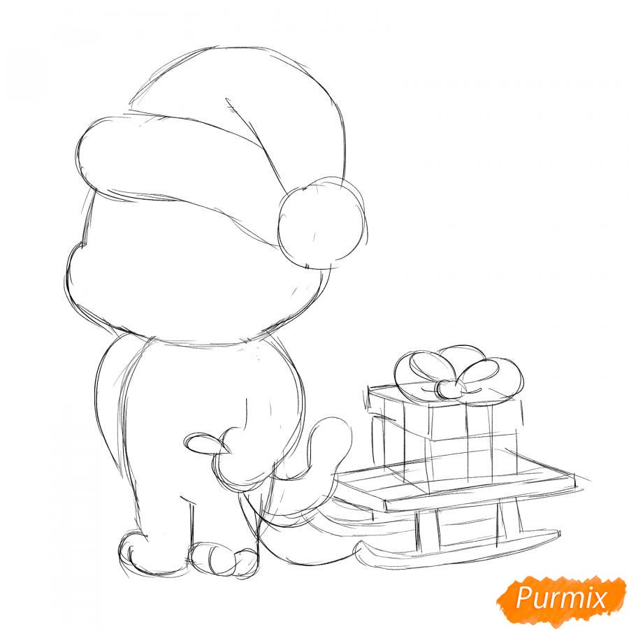 Рисуем тигрёнка с санками - шаг 3