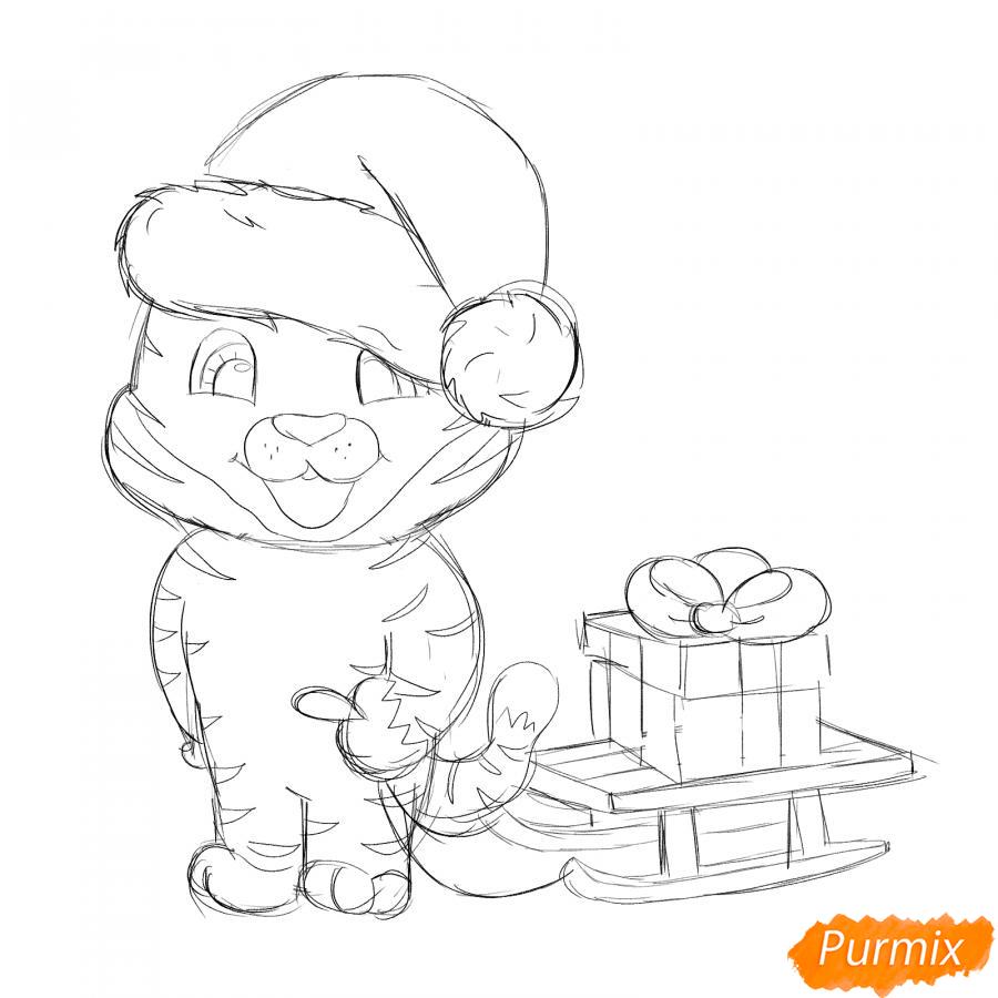 Рисуем тигрёнка с санками - шаг 4
