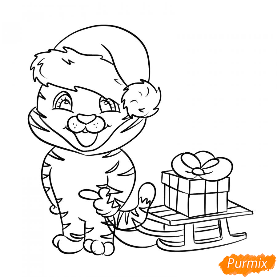 Рисуем тигрёнка с санками - шаг 5