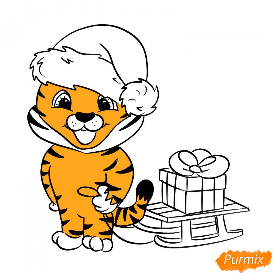 Рисуем тигрёнка с санками - шаг 6