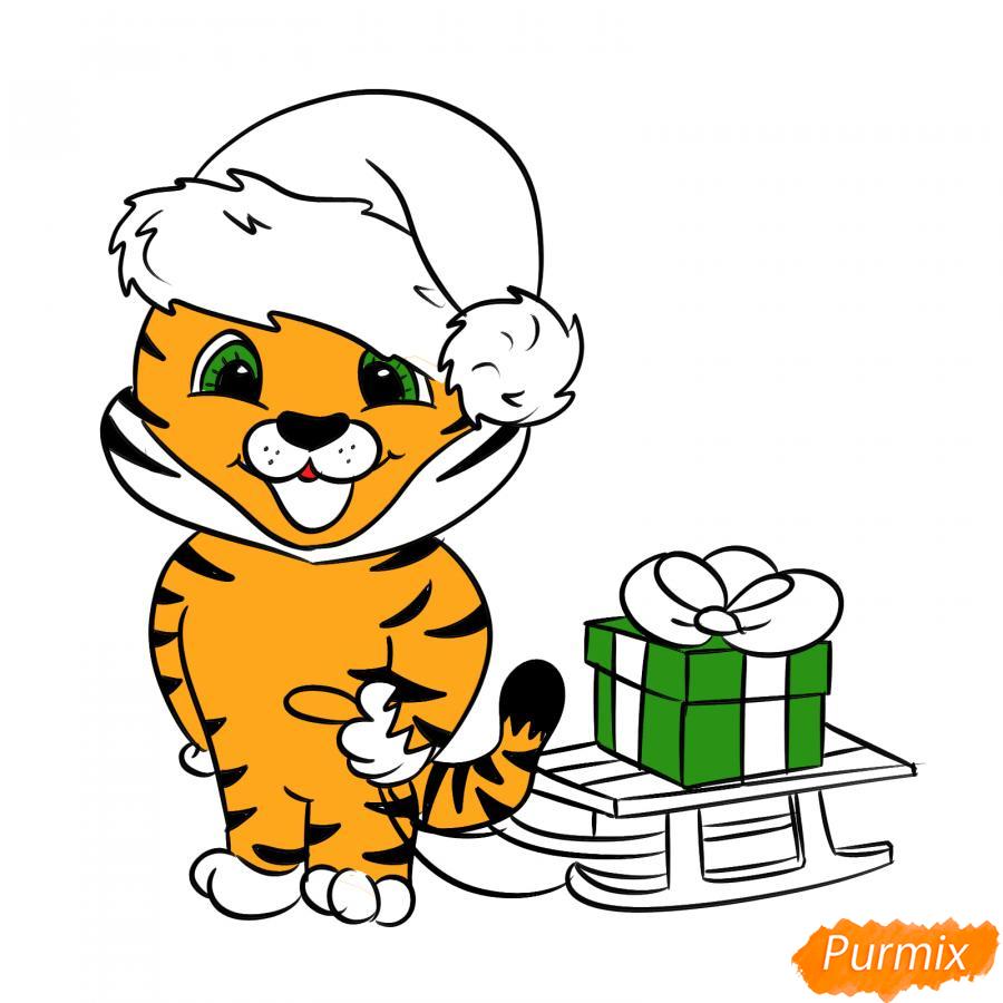 Рисуем тигрёнка с санками - шаг 7