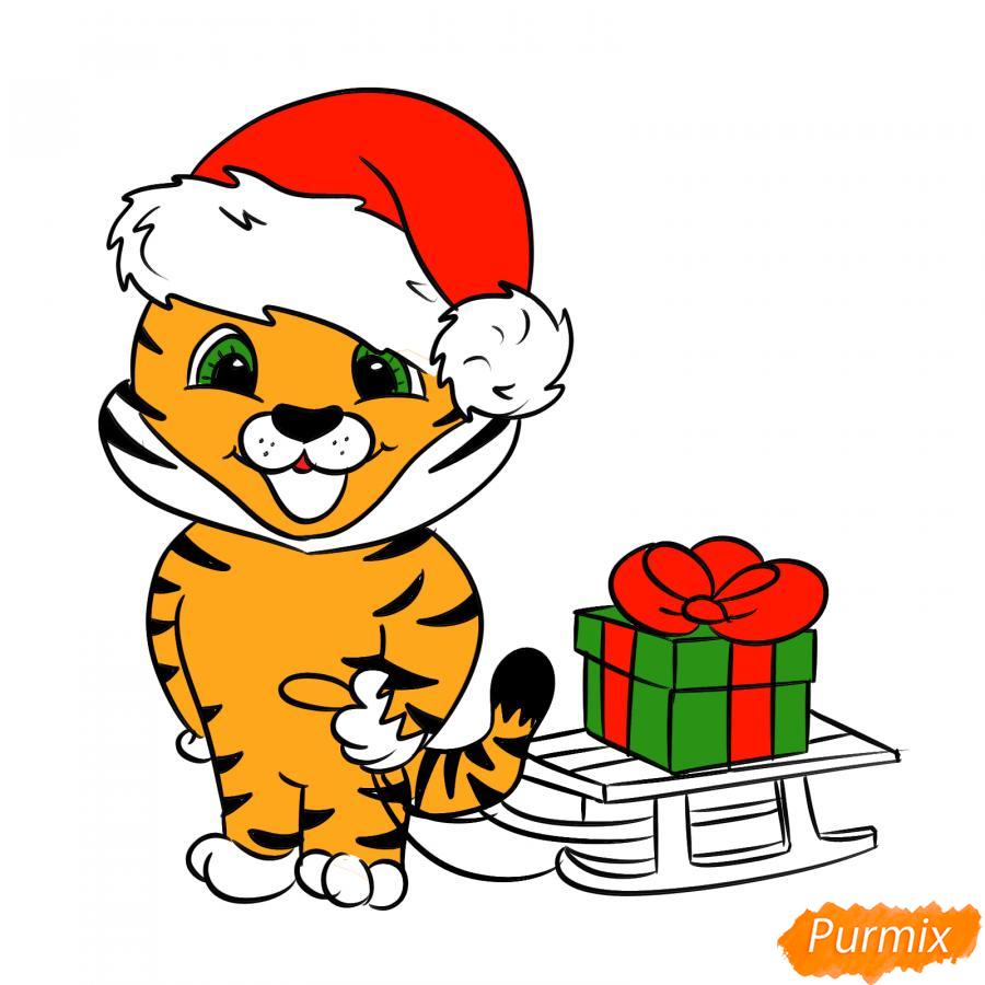 Рисуем тигрёнка с санками - шаг 8