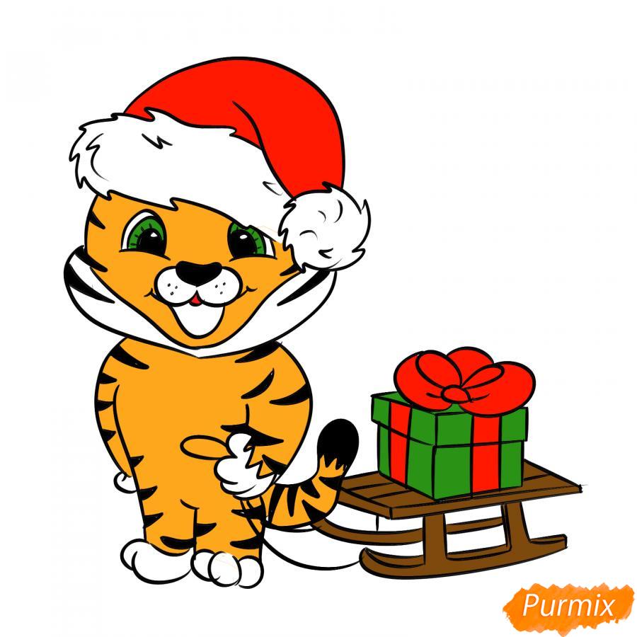 Рисуем тигрёнка с санками - шаг 9