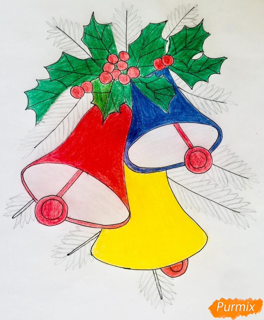 Рисуем три новогодних колокольчика с веточками ёлочки - шаг 10