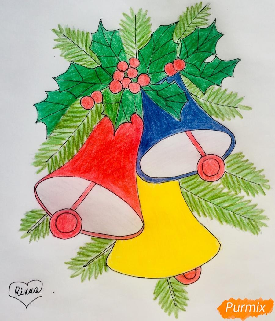 Рисуем три новогодних колокольчика с веточками ёлочки - шаг 11