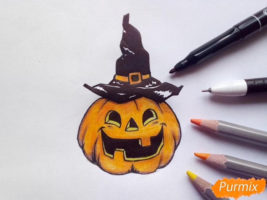 Рисуем тыкву в шляпе на Хэллоуин - шаг 10