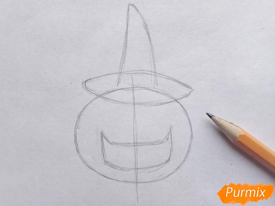 Рисуем тыкву в шляпе на Хэллоуин - шаг 2