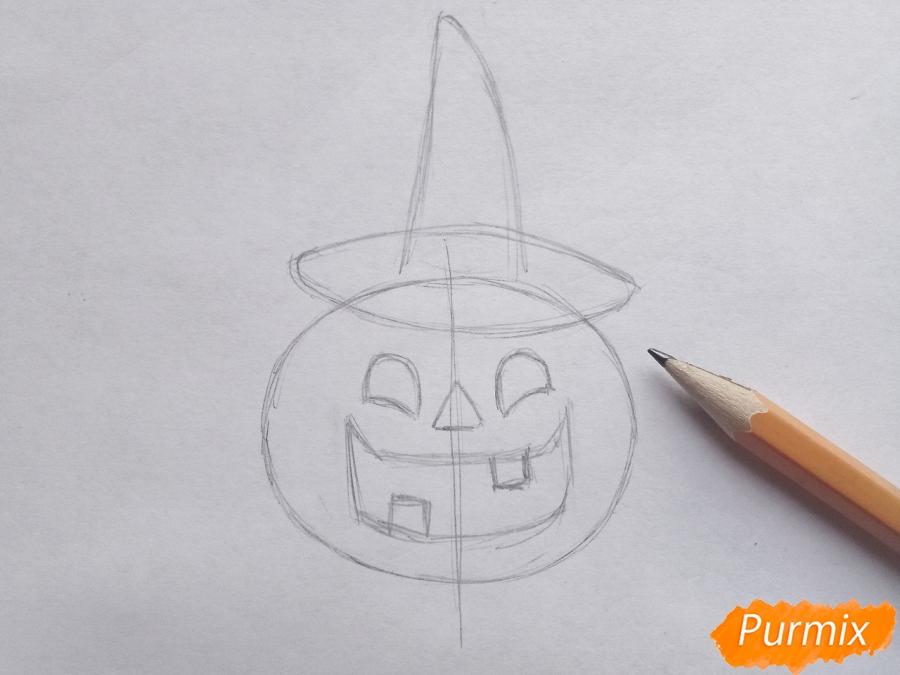 Рисуем тыкву в шляпе на Хэллоуин - шаг 3
