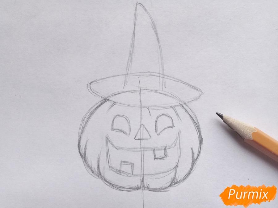 Рисуем тыкву в шляпе на Хэллоуин - шаг 4
