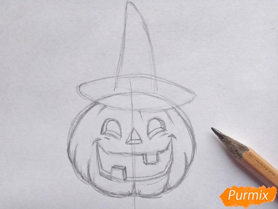 Рисуем тыкву в шляпе на Хэллоуин - шаг 5