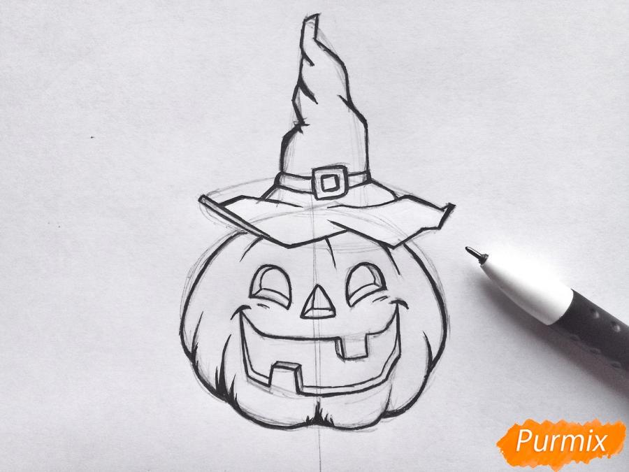 Рисуем тыкву в шляпе на Хэллоуин - шаг 7