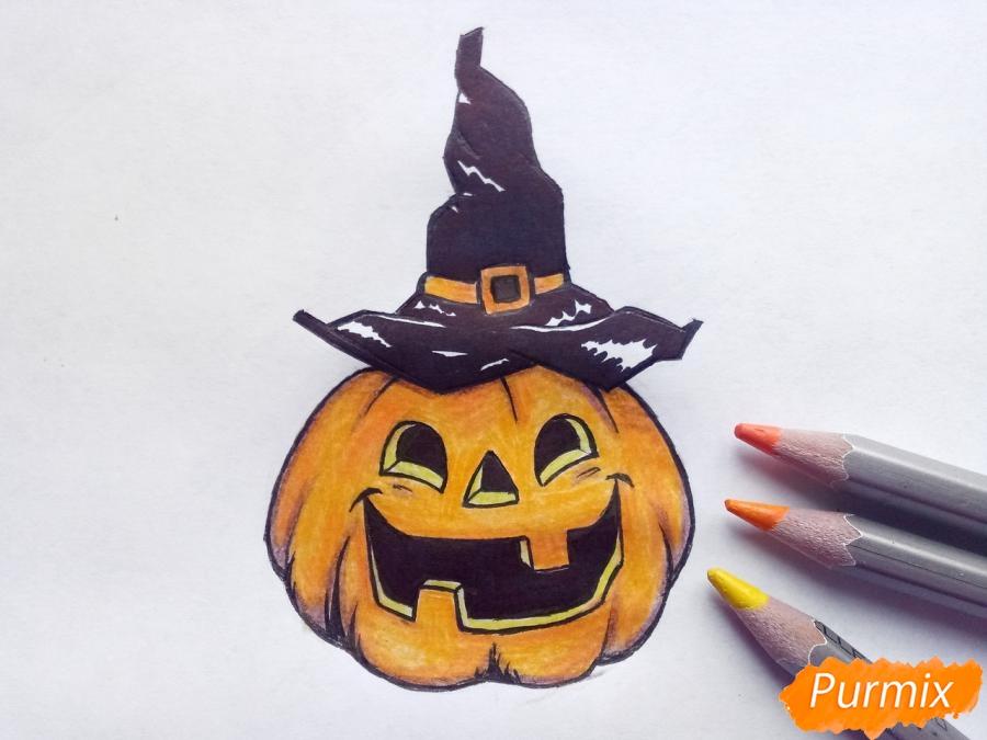 Рисуем тыкву в шляпе на Хэллоуин - шаг 9