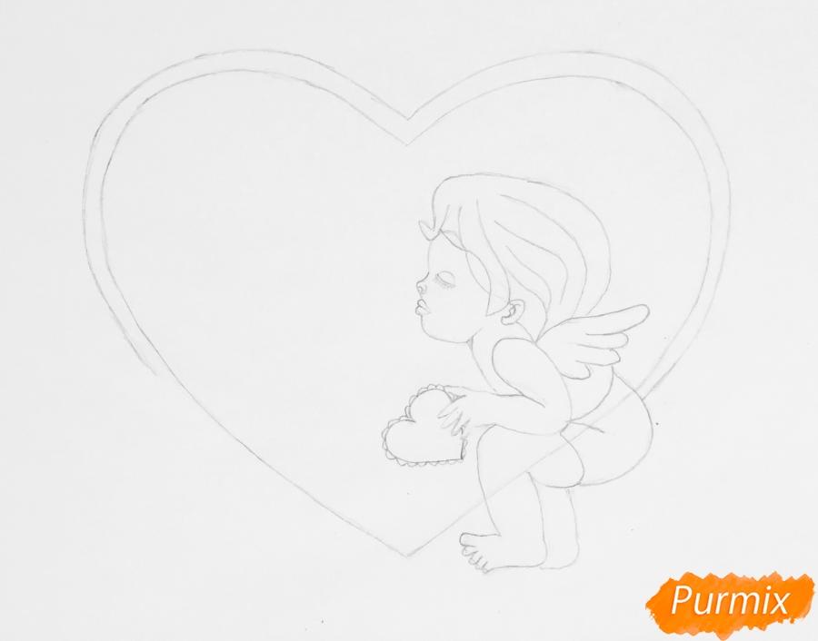 Рисуем валентинку с влюблённой парой ангелочков карандашами - шаг 3