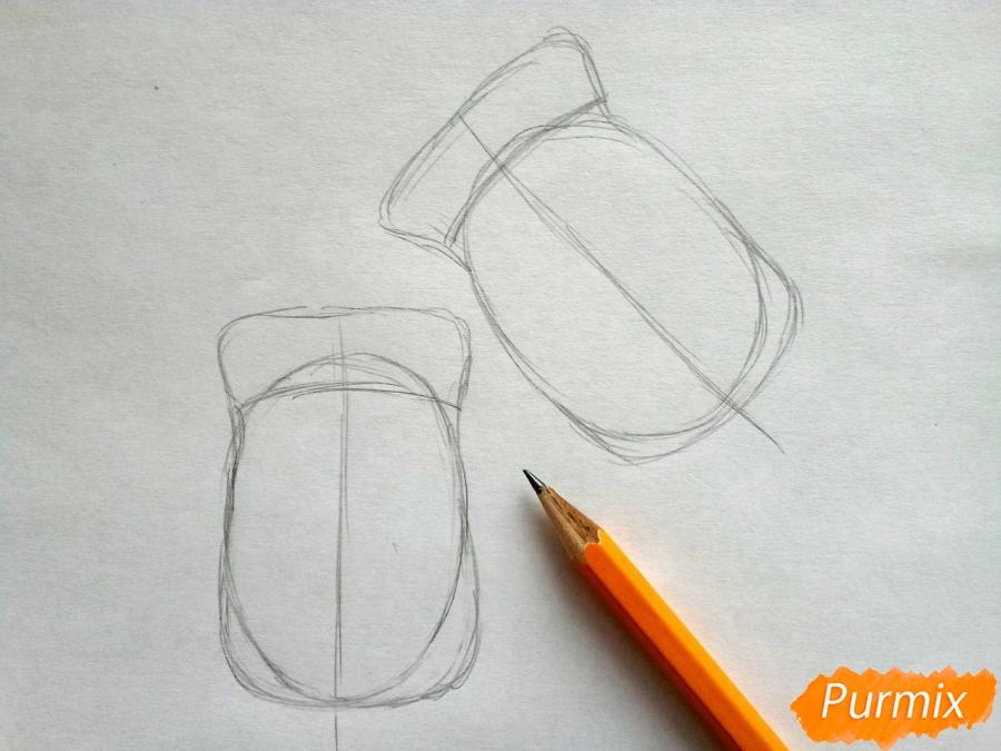 Рисуем варежки карандашами - шаг 2